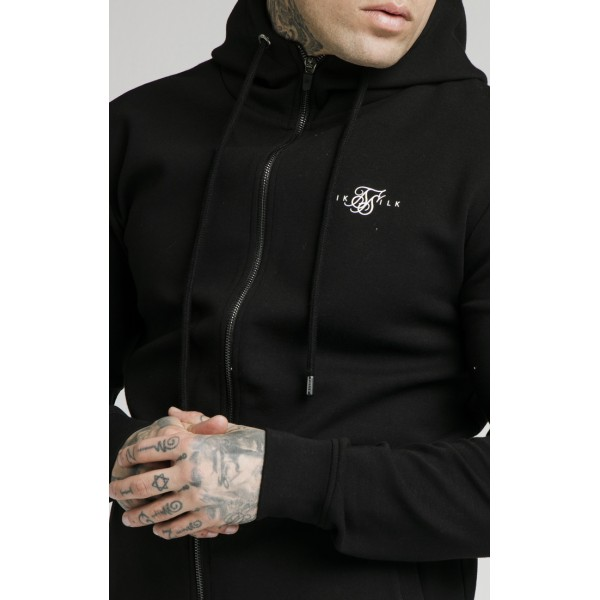 Felső SIK SILK Zip Muscle Fit Hoodie black