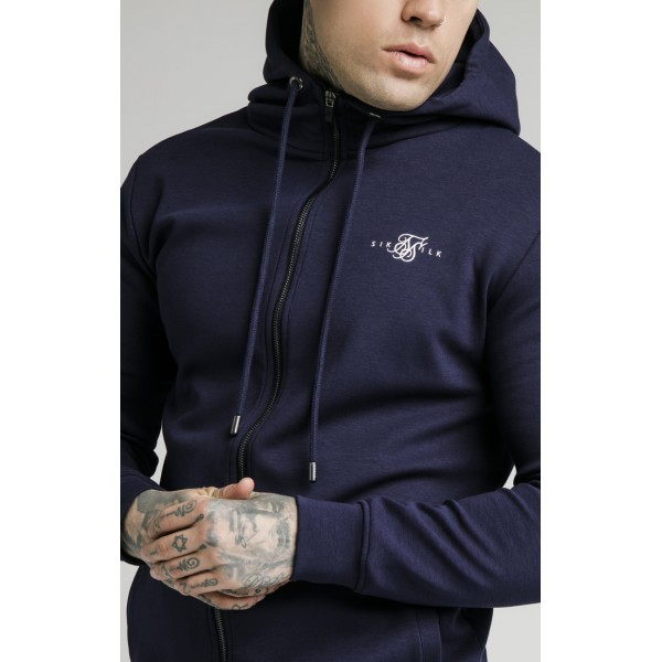Felső SIK SILK Zip Muscle Fit Hoodie navy