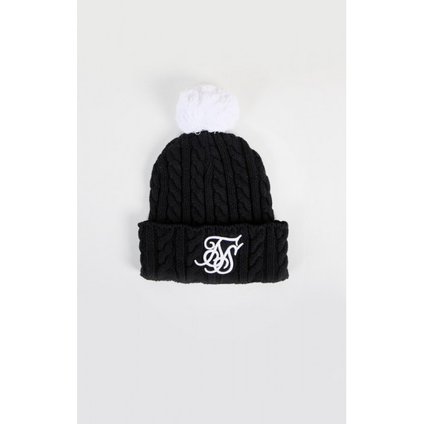 Sapka SIK SILK Cable Bobble black/white