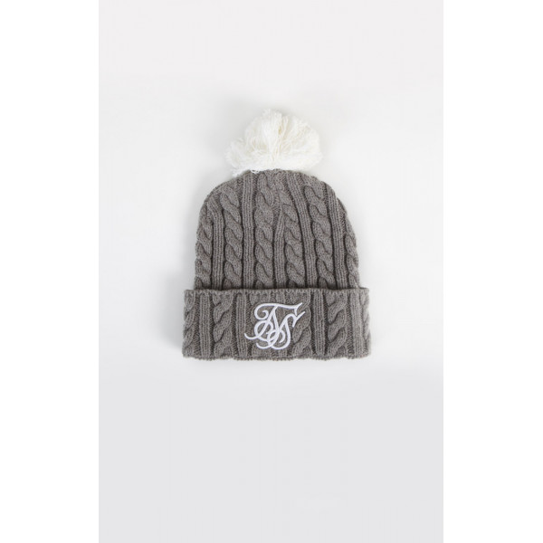 Sapka SIK SILK Cable Bobble grey/white