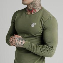 Trikó SIK SILK Long Sleeve Gym Tee khaki